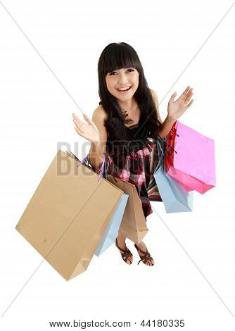 A Top View Of Lovely Woman With Shopping Bags