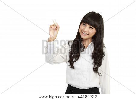Happy Smiling Cheerful Young Business Woman Writing Or Drawing On Screen