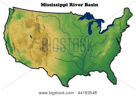 physical map of United States showing Mississippi River Basin
