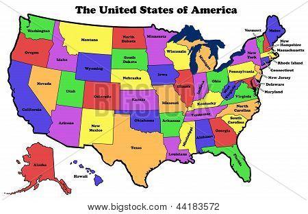 mapa de Estados Unidos sobre fondo blanco