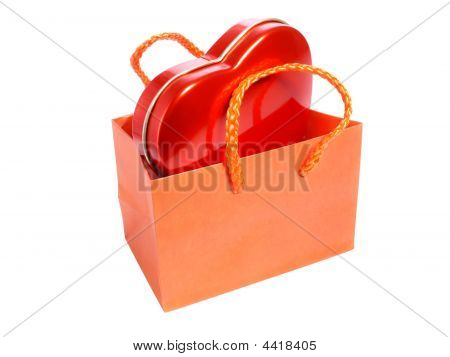 Red Heart In Paper Bag