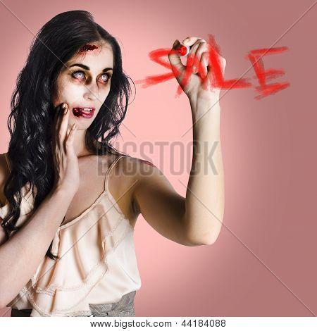Frightening Businesswoman Writing Sale In Blood