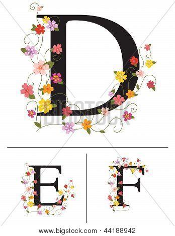 Decorative super caps letters D, E, F, ,