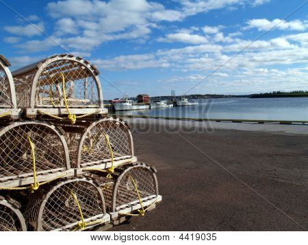 Lobster Traps On The Wharf With Copy Space