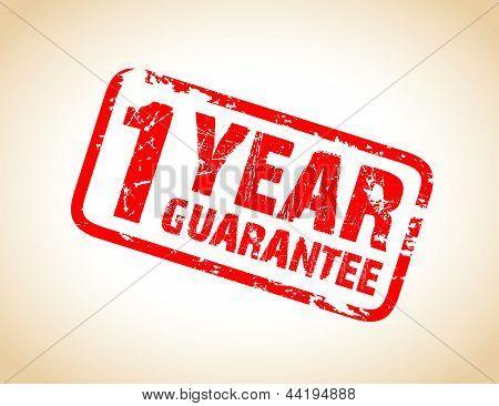 one year guarantee stamp
