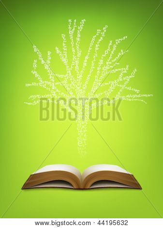 Tree of knowledge growing out of a book - vector illustration