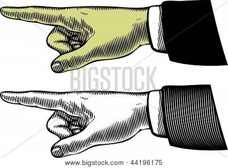 Hand with pointing finger in vintage style