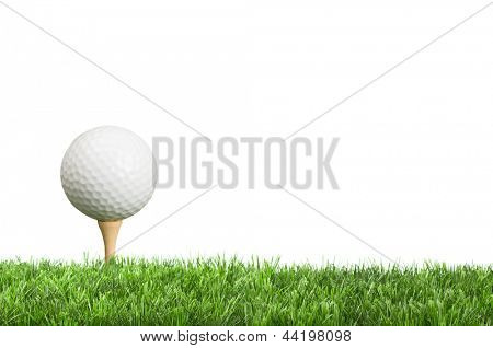 Golf ball on tee with white background for copy space