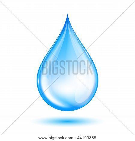 Blue shiny water drop