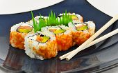 Sushi California Philly Rolls Appetizer On Blue Plate W/ Chopsticks