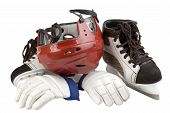 helmet, gloves, skates