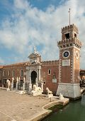 stock photo of arsenal  - The Porta Magna at the Venetian Arsenal Venice Italy - JPG