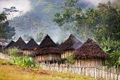 foto of papua new guinea  - A traditional mountain village in Papua Indonesia - JPG