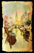 picture of old boat  - A view of the canal with boats and buildings in Venice painted by watercolor on the vintage old paper - JPG
