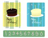 Set Of Chocolate & Vanilla Birthday Cakes With Numbered Candles