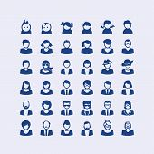 stock photo of beard  - Set of people icons for user accounts - JPG