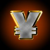 stock photo of gangster necklace  - Gold money sign of yen with diamonds on a dark background - JPG