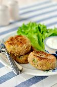 stock photo of patty-cake  - Potato and tuna patties - JPG