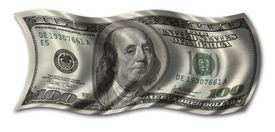 stock photo of one hundred dollar bill  - hundred dollar bill waving in the wind  - JPG