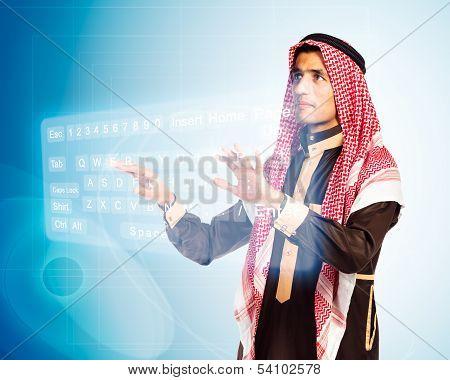 Arab Man Pressing Virtual Keybord
