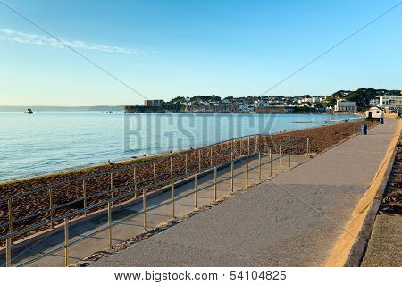 Paignton beach Torbay Devon England near tourist destinations of Torquay and Brixham