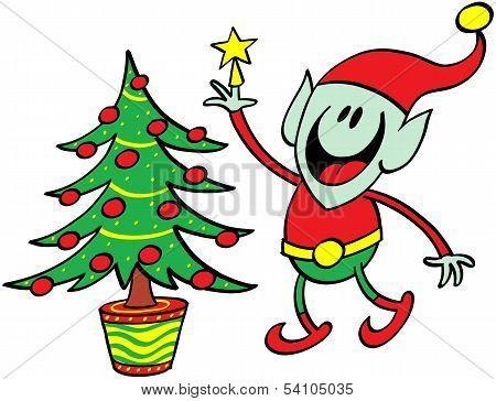 Green elf decorating a Christmas tree