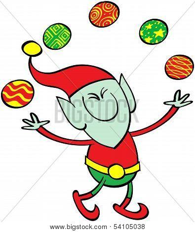 Elf juggling Xmas balls