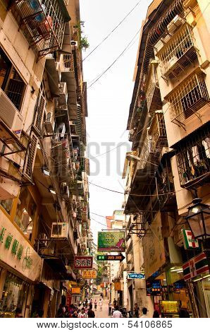 view on downtown street in Macau, China
