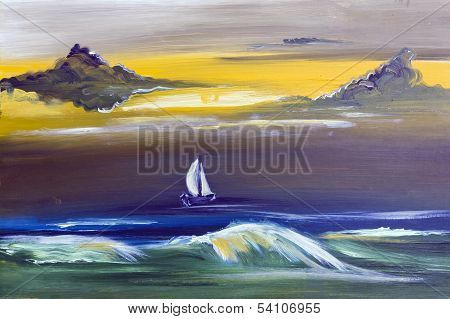 Sailing Boat  In Storm