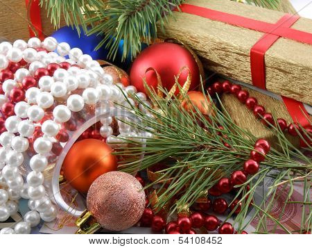 Christmas Gift Box With New Year Balls, White Diamonds And Tree Branch