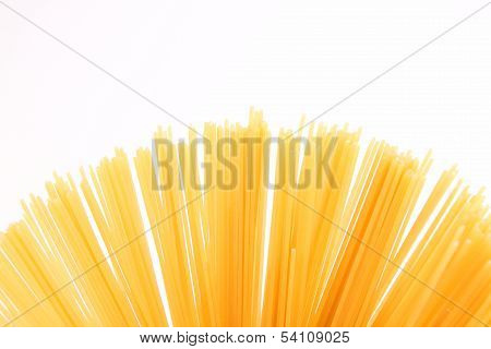 Fantail of spaghetti  isolated on white background