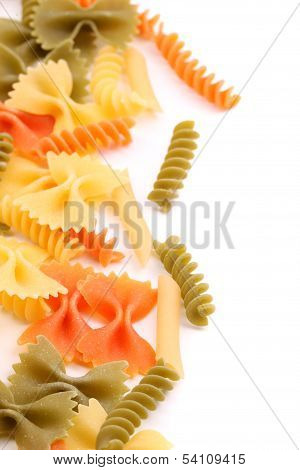 different pasta in three colors close-up
