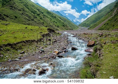Kegety river in mountains of Tien Shan