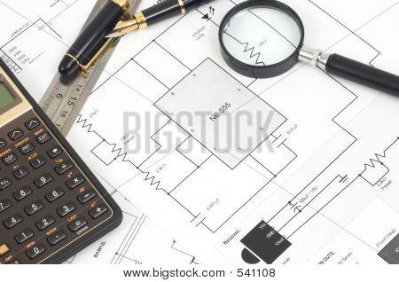 Electrical Scheme On Cork Board