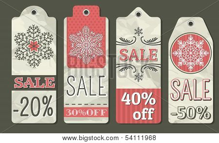 Crumple Christmas Labels With Sale Offer, Vector