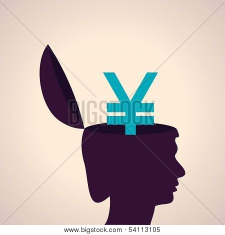 Thinking concept-Human head with yen symbol
