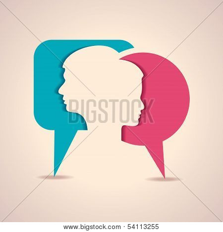 Male and female face with message bubble