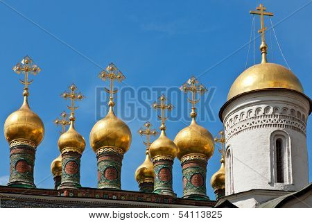 Cupolas of the Terem Palace Church Moscow Kremlin Russia