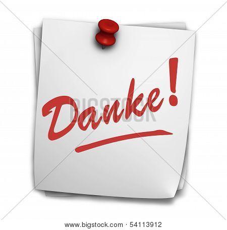 Danke Sign On Note Sticker