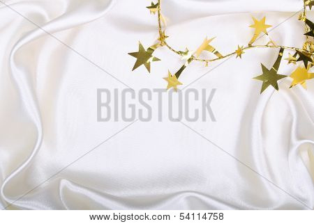 Golden Stars And Spangles On White Silk