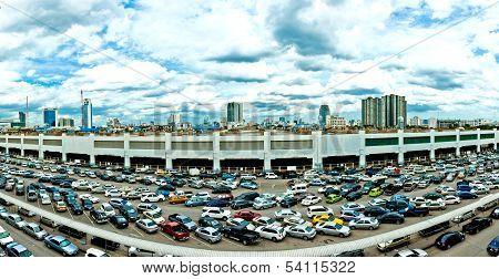 parking lot and Bangkok Skyline