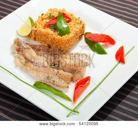 Grilled Codfish With Red Lentil