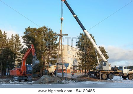 Installing A Power Pole With The Use Of Special Equipment