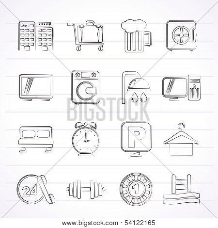 Hotel and motel icons