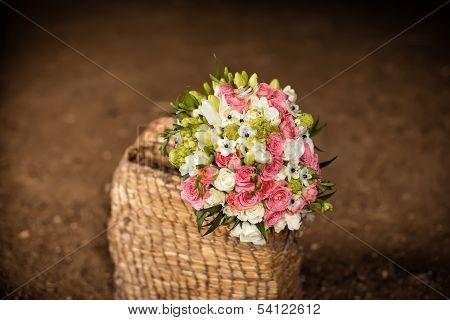 Bridal Bouquet In Basket