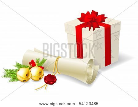 Christmas card with paper scroll wishlist gift and bells