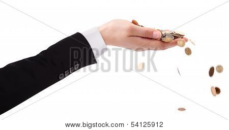 Businessman's Hand throwing Money