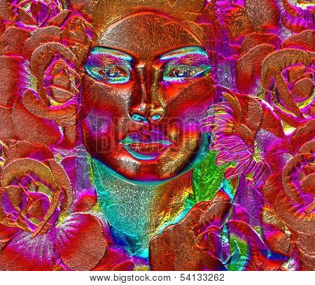 Red floral abstract face of woman.