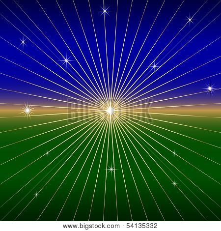 Vector Dark Background with star and rays