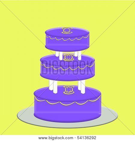 Purple 3 Tier Wedding Cake